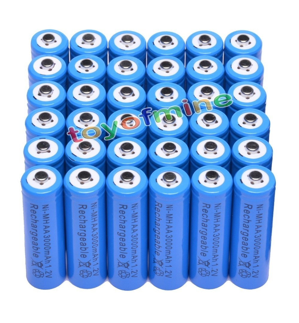 36x AA 3000mAh 2A 1,2 V Ni MH синий аккумулятор для MP3 RC игрушки