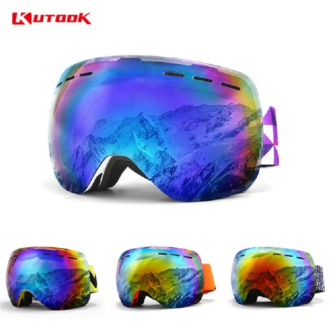 KUTOOK Double Layer Snowboard Goggles Winter Windproof Ski Glasses With Case Snowmobile Goggles Face Mask Racing Sports Eyewear