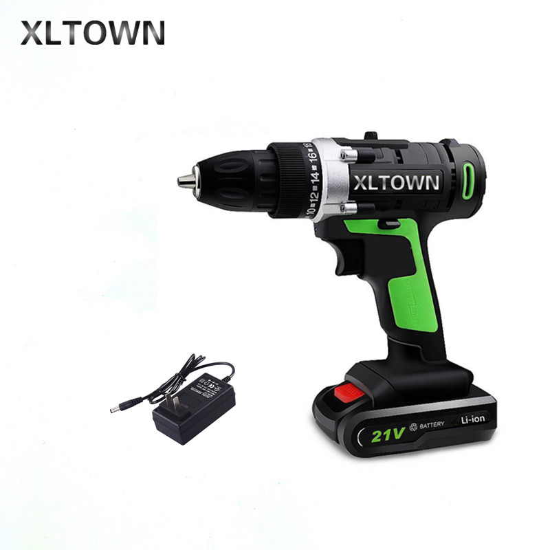 XLTOWN 21v Home Cordless Electric Drill high quality Multi-Motion lithium battery Rechargeable Electric Screwdriver Power tools xltown 12 16 8 21v cordless lithium electric drill with 2 battery multi function rechargeable electric screwdriver power tools