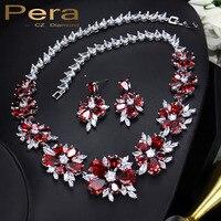 Pera Vermelho CZ Acessórios Jewellry Casamento Russo Grande Cluster de Luxo Flor de Cristal Colar De Noiva E Brincos Para Noivas J124