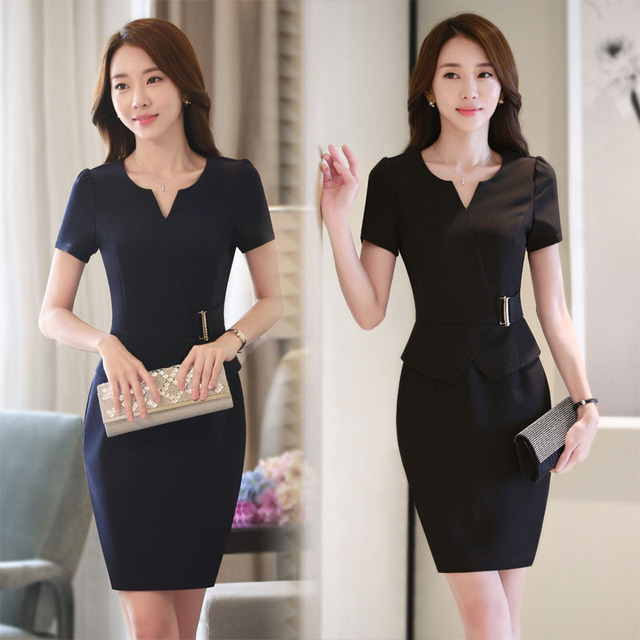 Neue Mode Korea Stile Slim Mode Sommer Kurzarm Kleid Fur Business