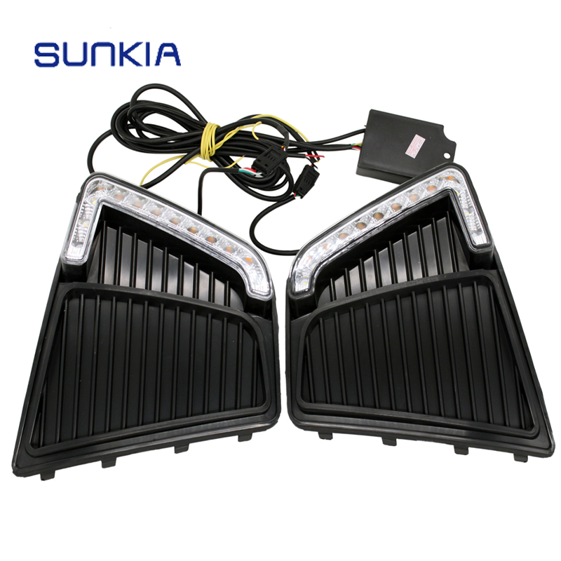 SUNKIA 12V Car LED DRL Daytime Running Lights with Fog Lamp Hole for Hyundai IX25 Creta 2014 2015 2017 Day Lights