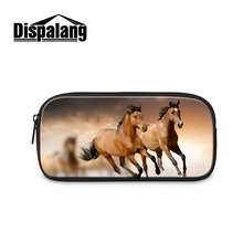3D Horse Print Student Pencil Bag Women Travel Makeup Bag Cosmetic Cases Kids Stationery Pouch Office School Supplies Necesser