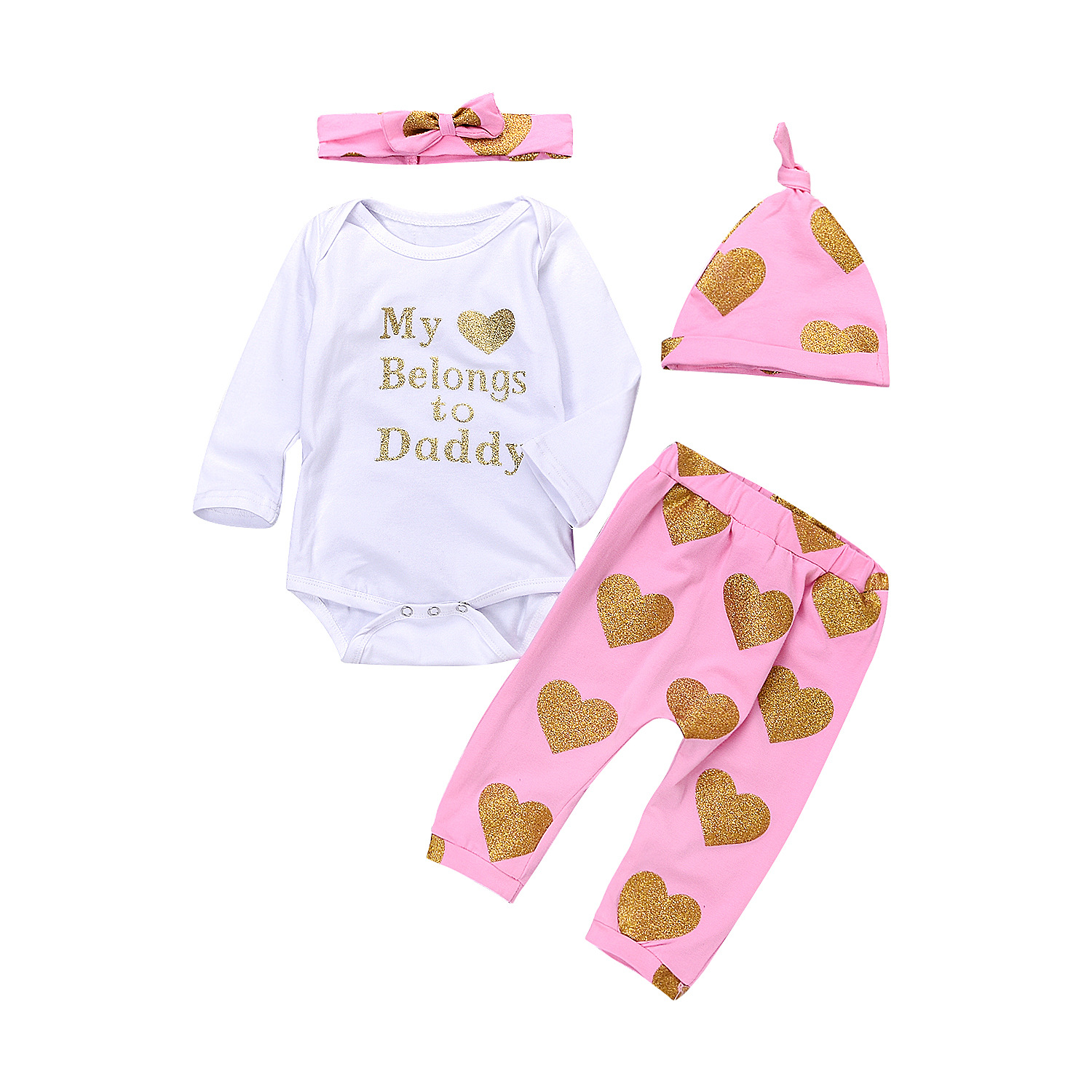 4PCS Pink Infant Set Newborn Baby Girls Outfits White Heart Sequined Long Sleeve Romper  ...
