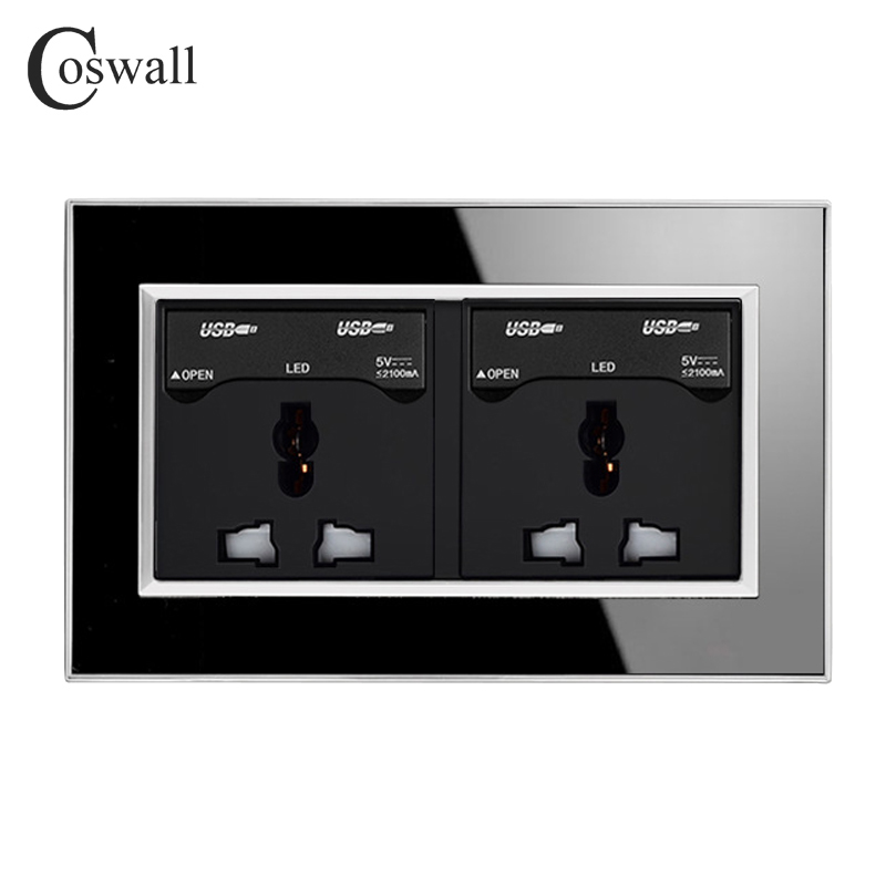 Coswall 146 Type Universal Socket Luxury Wall Power Outlet With 4 USB Charging Port For Mobile Acrylic Crystal Mirror Panel coswall 146 uk universal double socket with 4 usb charge port for mobile output 5v 2 1ma wall power outlet stainless steel panel