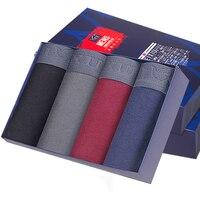 Men 4Pcs Pack Underwear Soft Boxers Cotton Solid Shorts Underpants Male Panties