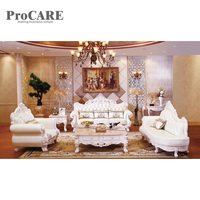 antique sofa set solid wood carving style leather sofa set A938B