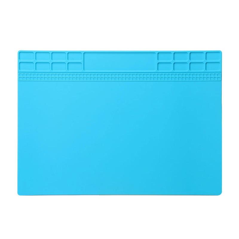Šviesiai mėlynos spalvos šilumą izoliuojančio silikono padėklo kilimėlis, skirtas elektros litavimo taisymo stoties priežiūros platformai 34x23cm