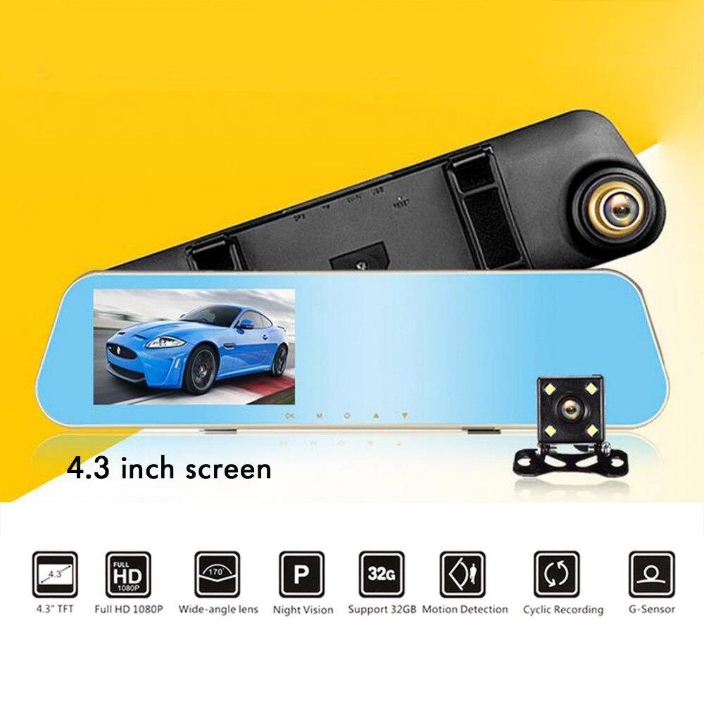 TAIHONGYU Full HD 1080 P Voiture Rétroviseur Dvr Caméra Auto Golden Trim Numérique Vidéo Enregistreur 4.3 Pouce Double Lentille