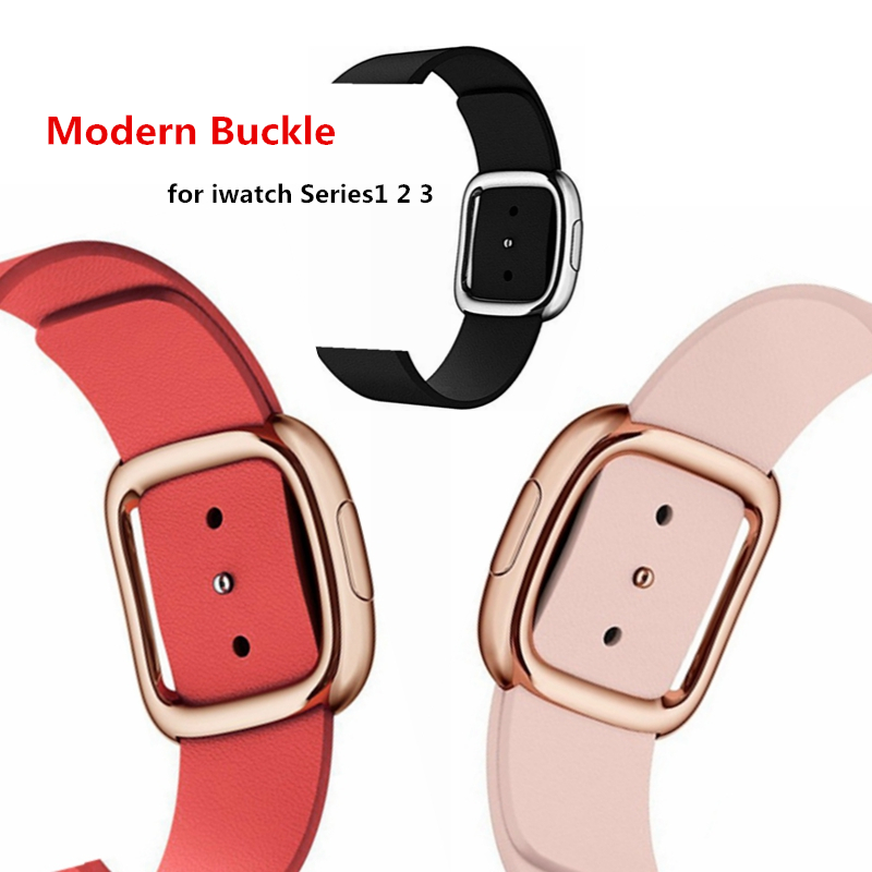 Modern Buckle Genuine Leather Watch Band Strap for Apple Watch Series1 2 3 4 38mm 42mm Bracelet Wrist band strap for apple watch leather double buckle cuff band for apple watch 38mm 42mm strap bracelet