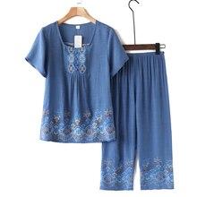 ブランドデザイナー女性パジャマ夏の女性のパジャマを設定します laides 半袖パジャマ女性換気ホームスーツ