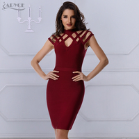 Winter Runway Dress Women Evening Bandage Dress 2017 New Wine Red Plaid Hollow Out Short Sleeve