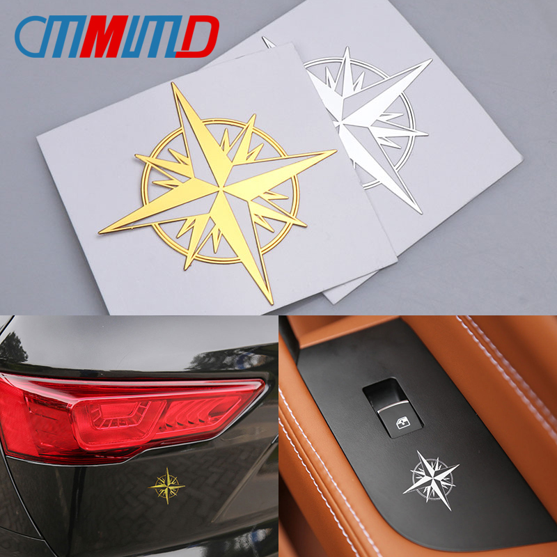 Car Styliing 3D Metal High Quality Car Sticker Compass Navigate Motorcycle Phone Laptop Decoration Glass Surface Badge Decal