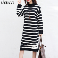 2017 Autumn Winter Large Size Women Sweater Striped Dress Long Sleeves Loose Knitted Black And White