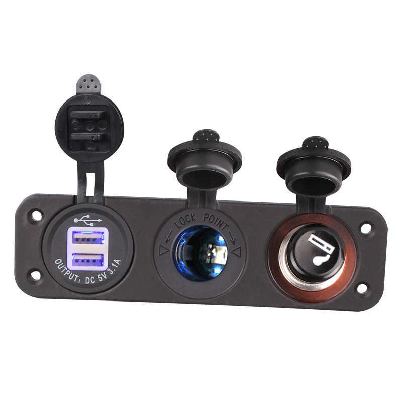 1 Piece 12V Car Cigarette Lighter Socket With Led 12V Dual Socket USB Adapter Charger With Car Cigarette Light
