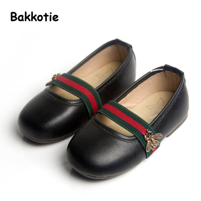 Bakkotie 2017 Primavera Do Bebê Do Outono Marca Menina Ballet Bomba para crianças Chinelo Rosa Kid Abelha Moda Flats Criança de Couro PU shoes