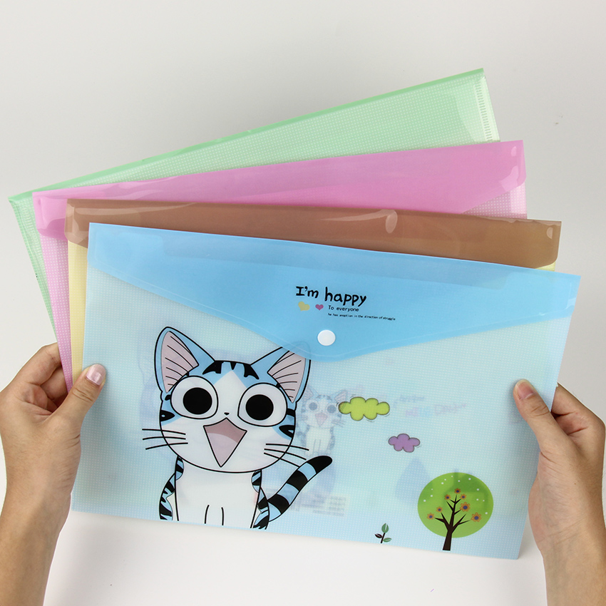 1 PC Cute Cheese Cat PVC A4 File Folder Document Filing Bag Stationery Bag School Office Supplies premiun pp material black blue red green grey 30 40 60 page b4 file folder document filing bag school office supplies stationery
