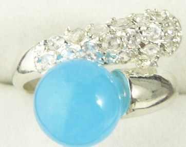 ร้อนขาย>@@ขายส่งโนเบิลสีฟ้าหยกsilver platedคริสตัลฝังแหวนแฟชั่น(#7.8.9) #