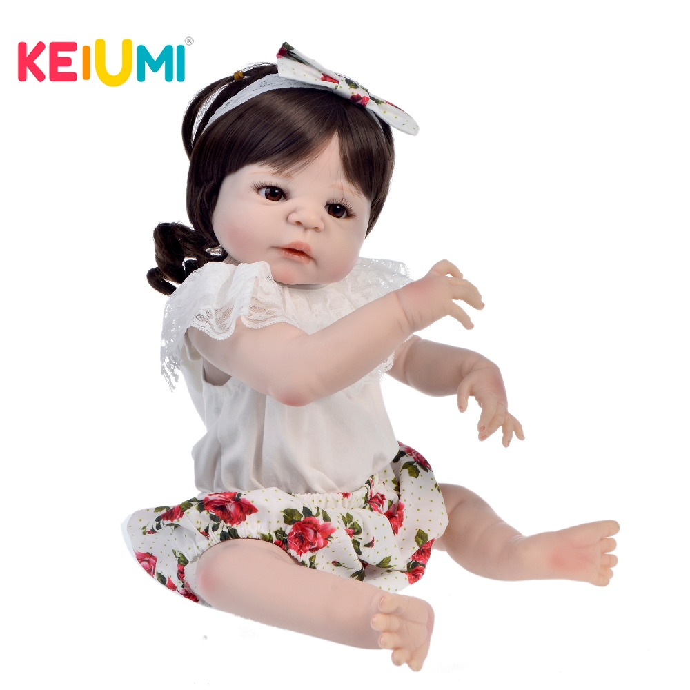 KEIUMI 23inch Baby Reborn Silicone Full Body Girl Boneca Reborn 57cm Realistic Baby Dolls Childrens Day Gifts Bed Time PlaymateKEIUMI 23inch Baby Reborn Silicone Full Body Girl Boneca Reborn 57cm Realistic Baby Dolls Childrens Day Gifts Bed Time Playmate