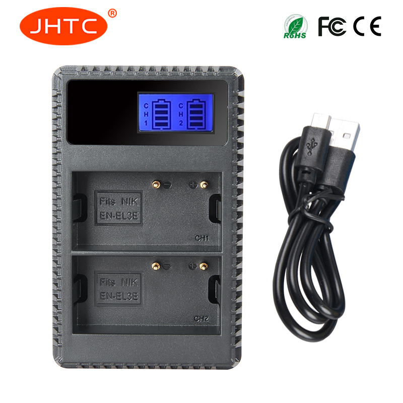 JHTC DUAL USB LCD EN-EL3e ENEL3e EN EL3e LCD <font><b>Battery</b></font> <font><b>Charger</b></font> for <font><b>Nikon</b></font> D70S D80 <font><b>D90</b></font> D50 D300S D300 D100 D20 image