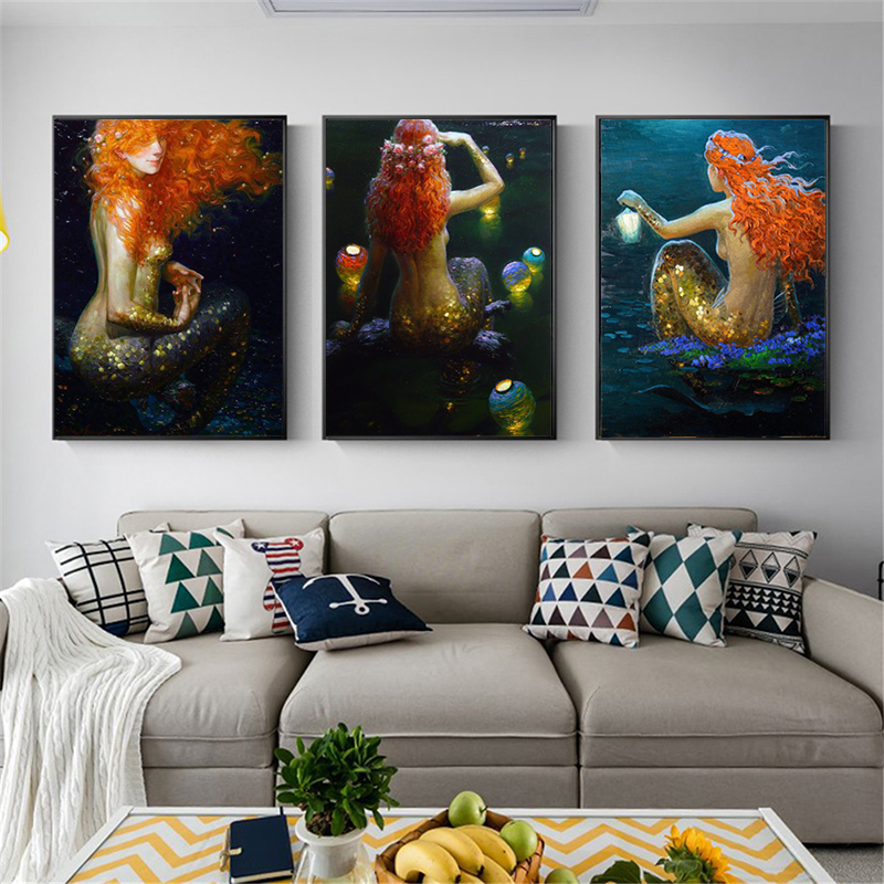 Fantasy Vintage Mermaid Wall Art Canvas Poster And Print Painting Oil Decorative Picture For Bedroom Home Decor Artwork