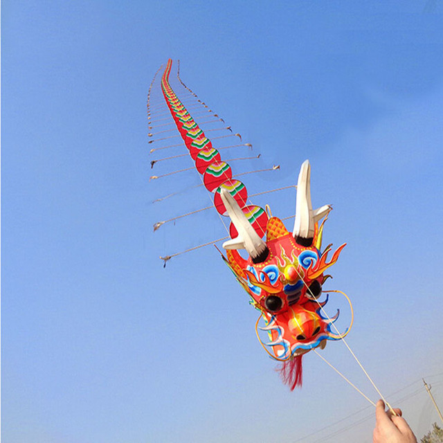 free shipping large chinese dragon kite can fly with handle line traditional kite octopus gold fish albatross outdoor toys