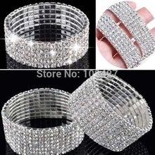 Clear 1/2/3/4 Rows Women Crystal Rhinestone Elastic Bracelet Bangle Bling Wedding Bridal Wristband Jewelry Tennis