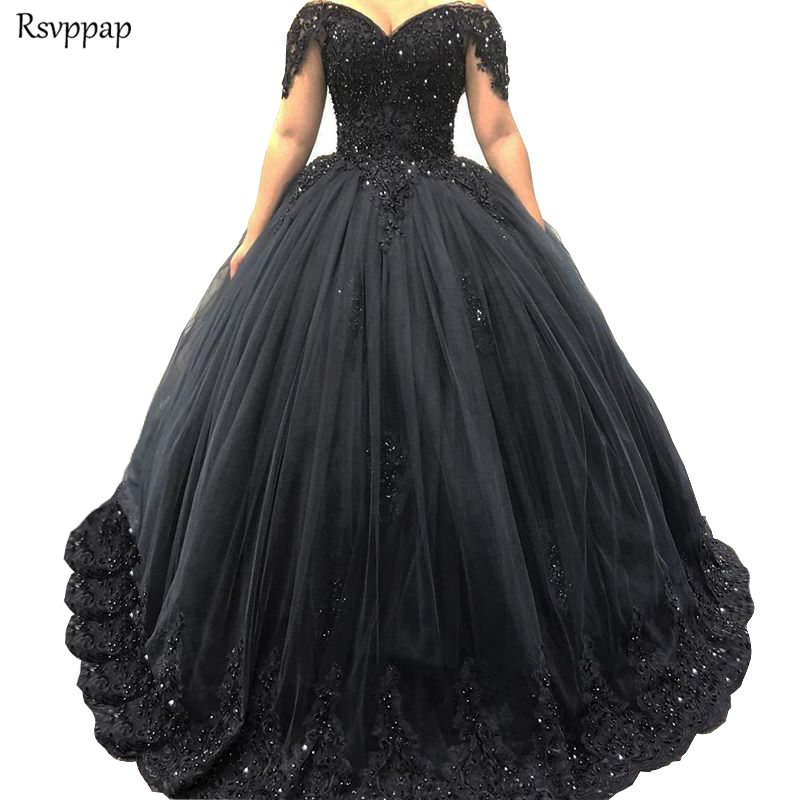 Long Puffy Women   Evening     Dress   2019 Cap Sleeve Ball Gown abendkleider Luxury Heavy Beaded Arabic Black Formal   Evening   Gowns