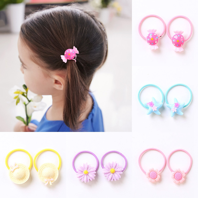 2PCS/Pair Hair Rubber Banda For Kids Cute Cartoon Elastic Hair Rope Children Headbanda Princess Ponytail Holder Hair Accessories