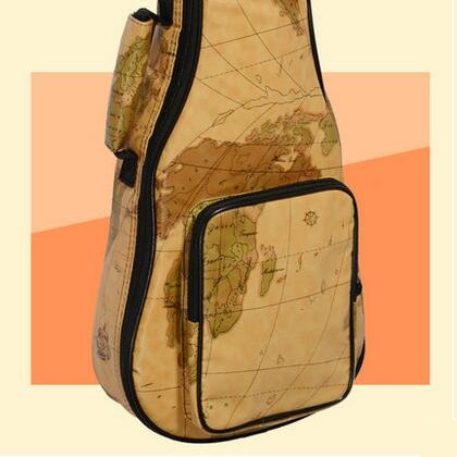 Free shipping PU thickening 21 23 26 inch Ukulele package, practical shoulders map design small guitar bag korean creative school pencil case eiffel tower pen bag kawaii girls boys large pencil case penalty pouches box