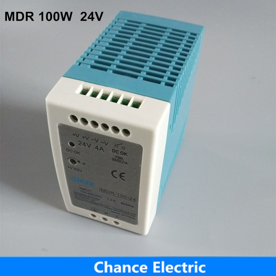 24V 100W DIN Rail Industry Switching mode Power Supply MDR 100W 24V for cnc cctv led light (MDR100W-24V) free shipping din rail industry switching power supply mdr 60w 5v 12a for cnc cctv led light mdr60w 5v
