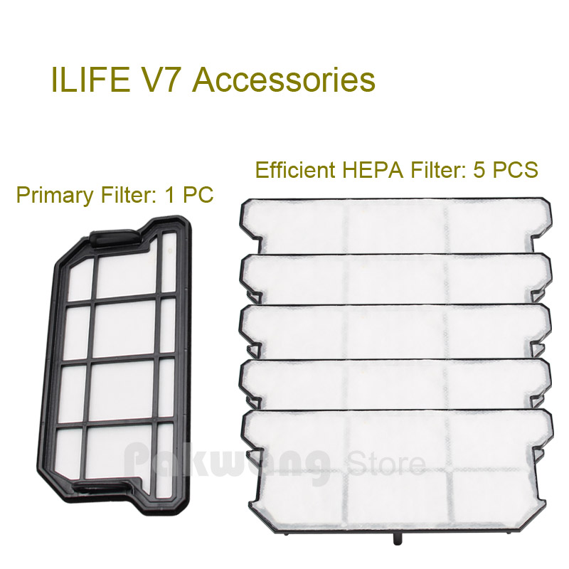 Original ILIFE V7 Primary Filter and HEPA Filter Robot Vacuum Cleaner Accessories supply from factory original ilife v7 primary filter 1 pc and efficient hepa filter 1 pc of robot vacuum cleaner parts from factory