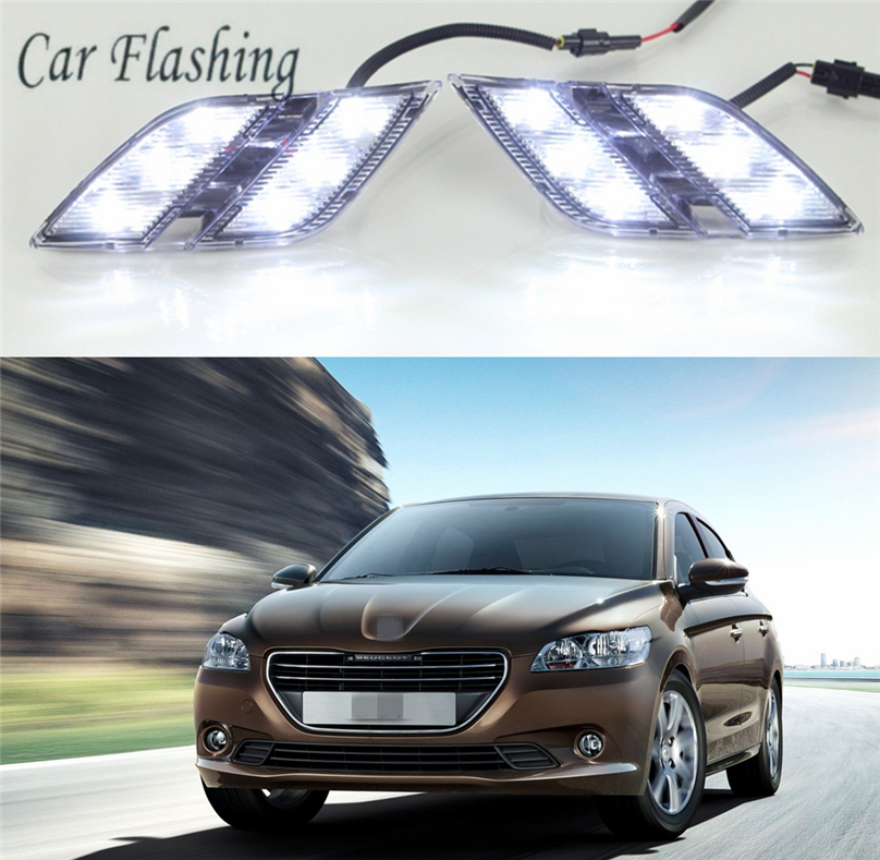 Car Flashing 2 pcs car styling For Peugeot 301 2014 2015 LED driving DRL with Daytime
