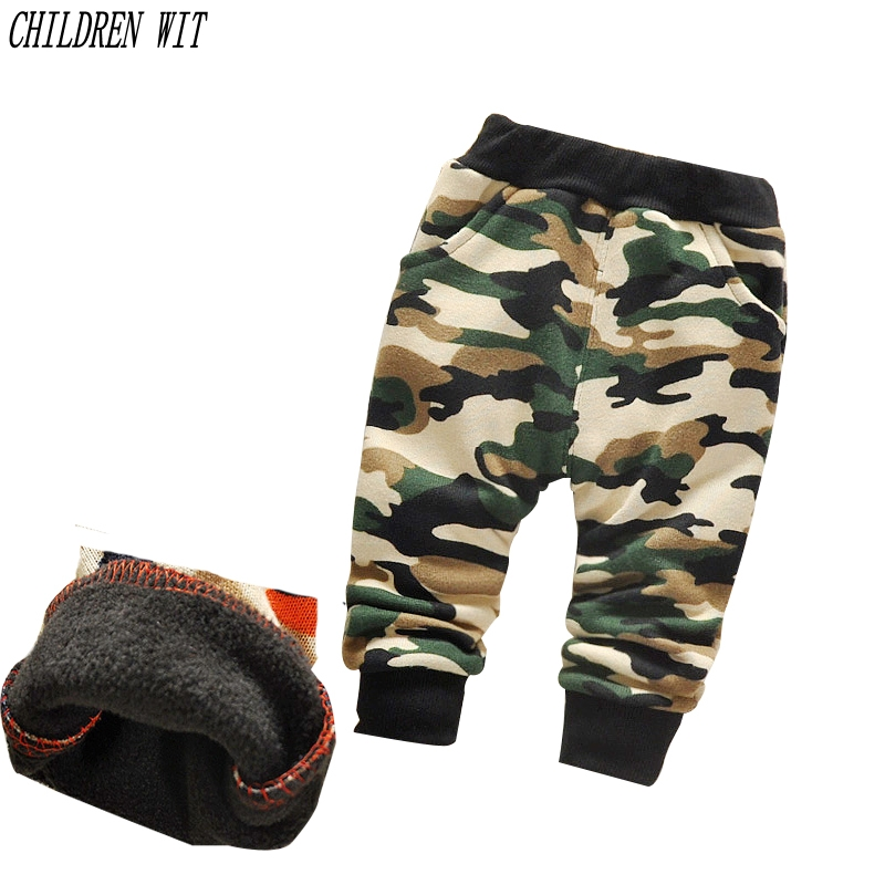 2017 autumn & winter thicker Keep warm Camouflage baby pants boys girls plus velvet warm 0- 3 year children pants plus size camouflage beam feet jogger pants