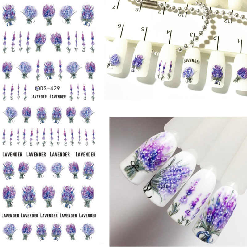 LEMOOC Nail Stickers for Nails Blooming Flower Feather Stickers for Nails Lavender Nail Art Water Transfer Stickers Decals