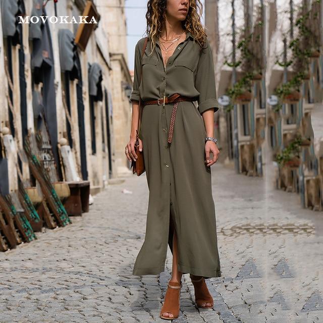 新ホットファッションボタンロングドレスエレガントな女性のドレスカジュアル作業服プラスサイズポケットスリム女性ロングスリーブ