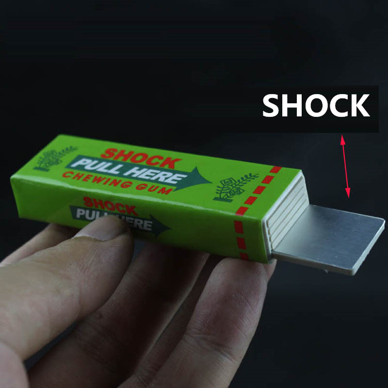 High quality Safety Trick Joke Toy Fun Electric Toys 1pcs Chewing Gum Pull Head Practical Jokes Fantastic for Fun Box packaging
