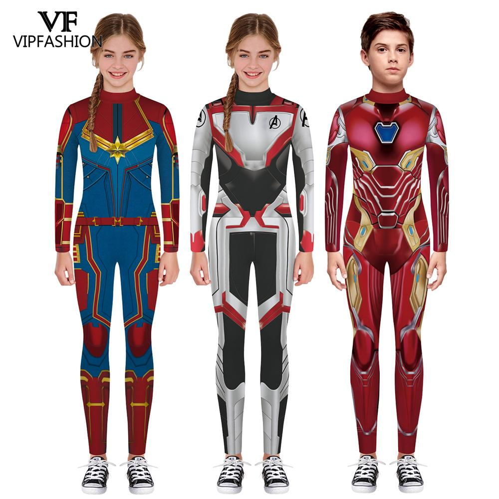 VIP FASHION 3D Superhero Captain Marevl Costume Cosplay Iron Man The Avengers 4 Endgame Quantum Realm Kids Costumes For Unisex