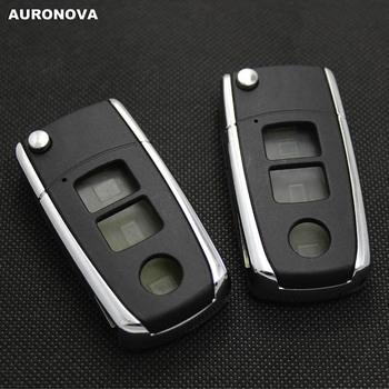 AURONOVA nowa aktualizacja składane klucze dla Toyota Camry 3 przyciski zaktualizowane obudowa pilota z klucz samochodowym Shining metalowy typu bocznego tanie i dobre opinie China Car Key ABS Plastic Copper Blade