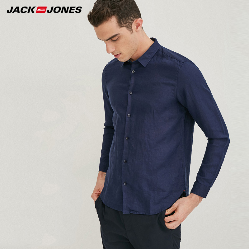Jack & Jones Brand 2019 NEW 100% Linen Slim Long Sleeves Male Shirts |217105552