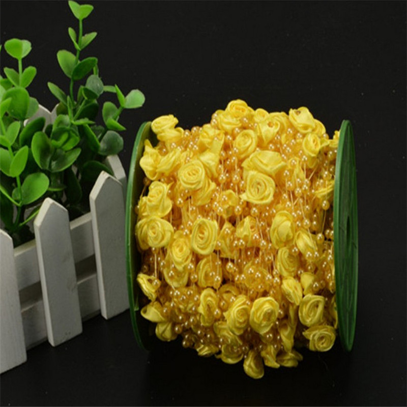 30M Pearls Beads Chain Garland Flowers Artificial Wedding Decoration DIY Crafts Lace Trims Tape Rustic Home Decor yellow