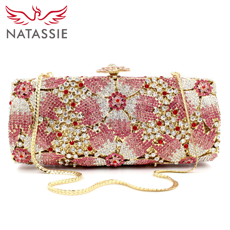 ФОТО NATASSIE Designer Floral Top Quality Luxury Handbags Women Bags Crystal Evening Clutches Wedding Purses Ladies Dinner Party