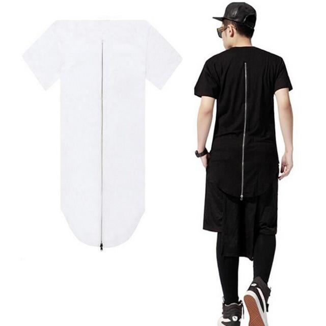 Skateboard Men Hip Hop T-Shirts Zipper Longline Tshirt Streetwear Mens Long T  Shirt Hipster Top Extended Tees Cotton Clothes 50 83b19090f17