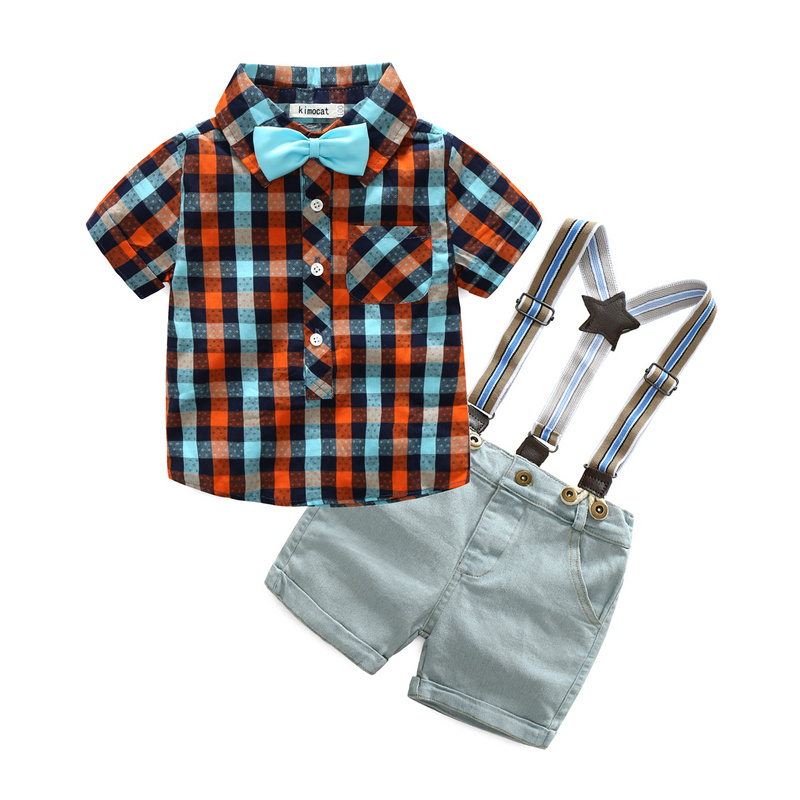 2Pcs New Summer Boy Clothes Sets Kids Clothing Gentleman Suit Plaid Short Sleeve Shirt+Suspender Shorts Children Outfit 3 Colors