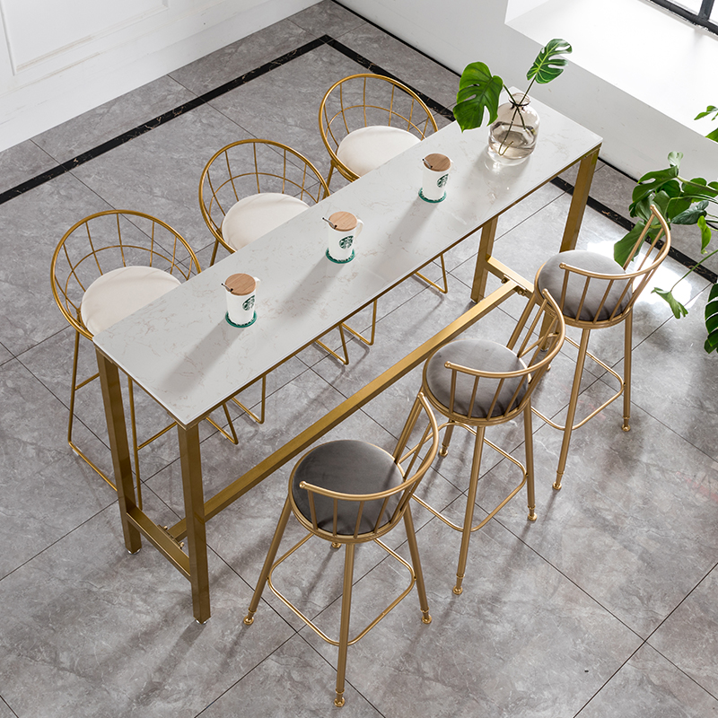 US $85.88 21% OFF|Nordic Bar Table And Chair Combination Wrought Iron Bar  Table Gold High Bar Table Conference Table Dining Bar-in Bar Chairs from ...