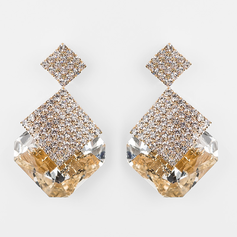 2018 TOP Mode Tillbehör Svartvita Square Crystal Luxury Sparkling Guld Drop Earrings For Women Alla hjärtans dag E009