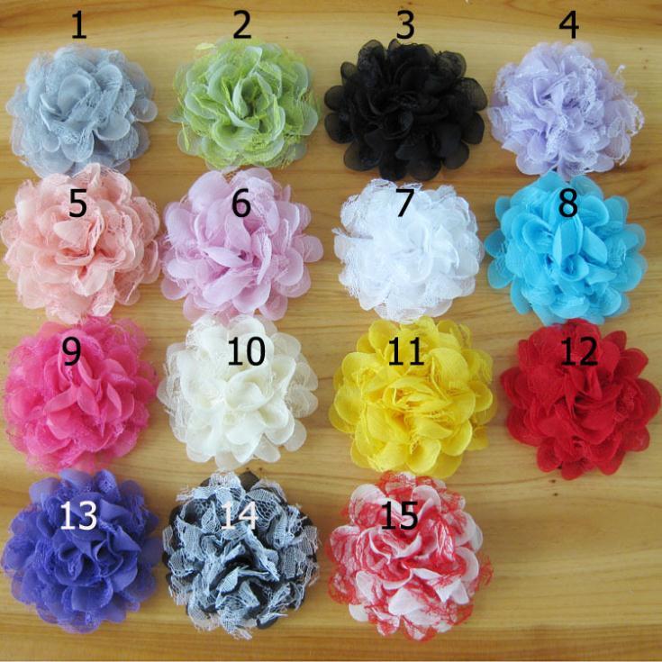 2017 DIY flowers 4'' Shabby Chiffon Flower Tulle Lace Layered Flowers children Hair Accessories newborn Hair Flowers 100PCS/LOT
