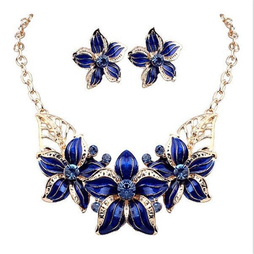 71093fe8834c Moda mujer joyería Set cristal flor Juegos de joyería declaración collar  joyería Maxi collar pendiente conjunto