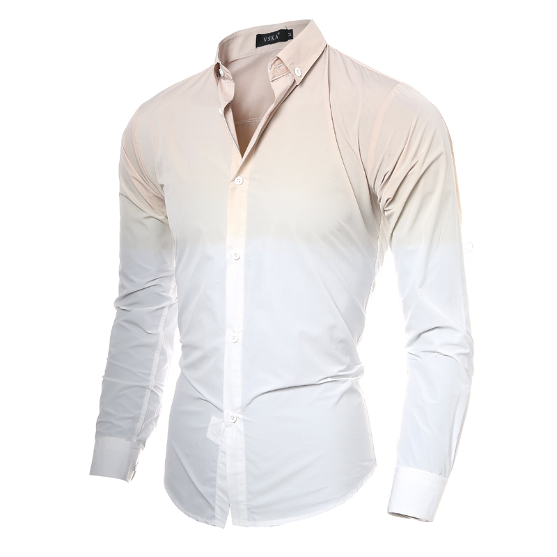 Male Long Sleeve Shirt Solid Print Men White Shirt Men Designer ...
