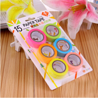 6 pcs/lot DIY Cute Kawaii Washi Tape Candy Color Masking Tape for Home Decoration Scrapbooking Photo Album Free shipping 3032